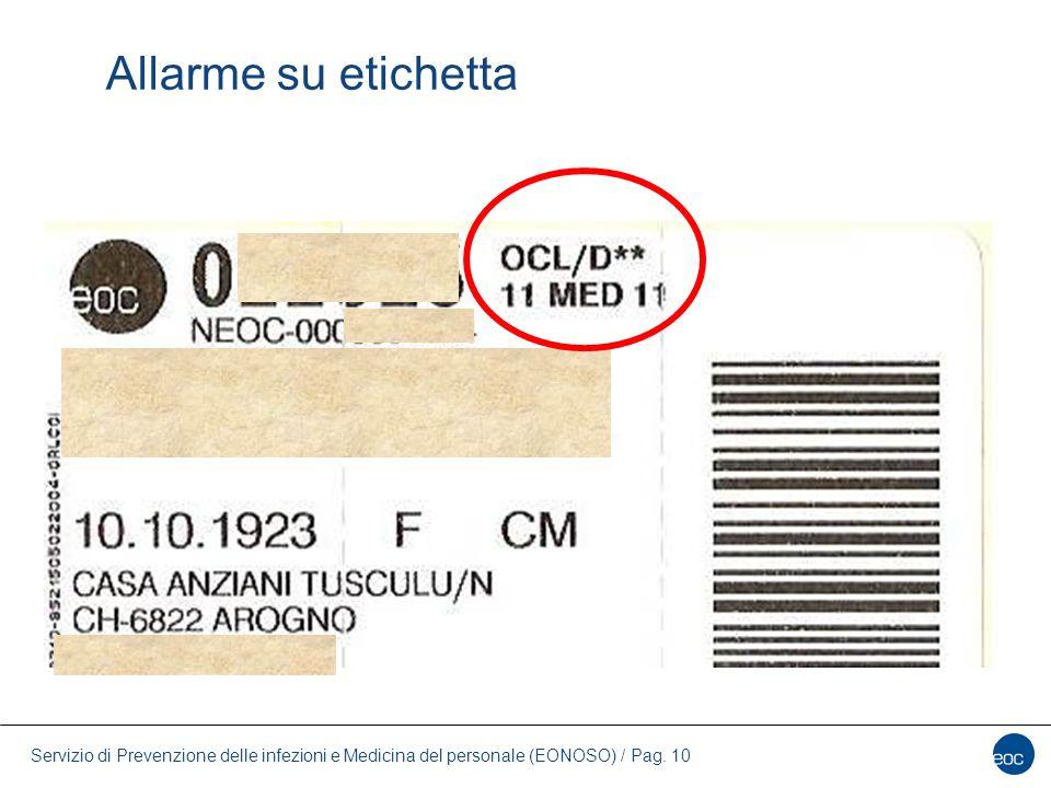 Allarme su etichetta