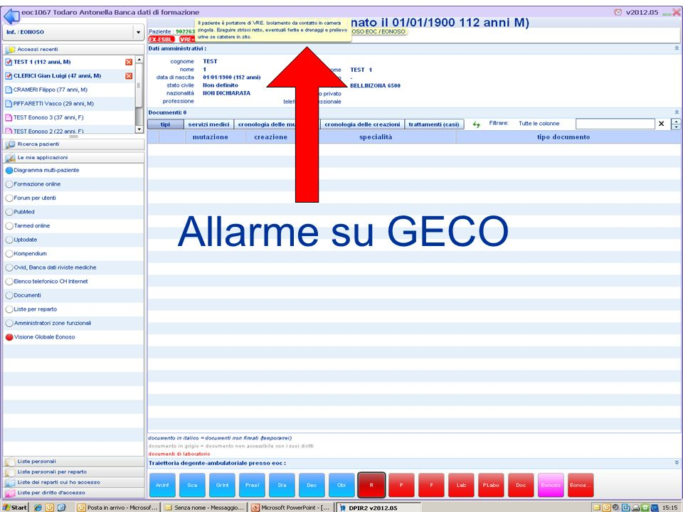 Allarme su GECO Questa Dia mostra cosa succede se si va con il cursore sopra il simbolo «VRE+»