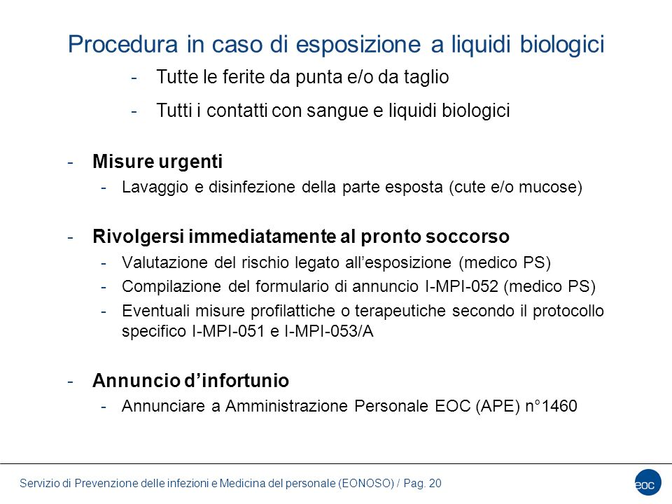 Procedura in caso di esposizione a liquidi biologici