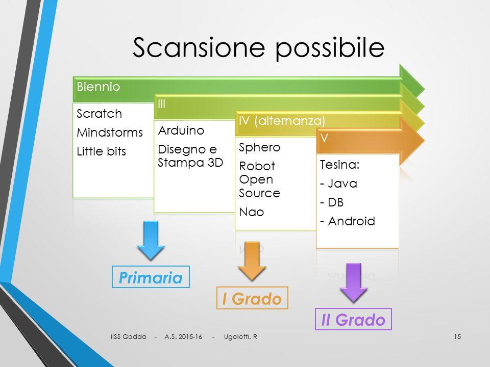 Scansione possibile Primaria I Grado II Grado Biennio Scratch
