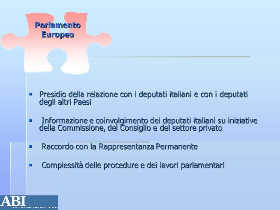 Parlamento EuropeoPresidio della relazione con i deputati italiani e con i deputati degli altri Paesi.