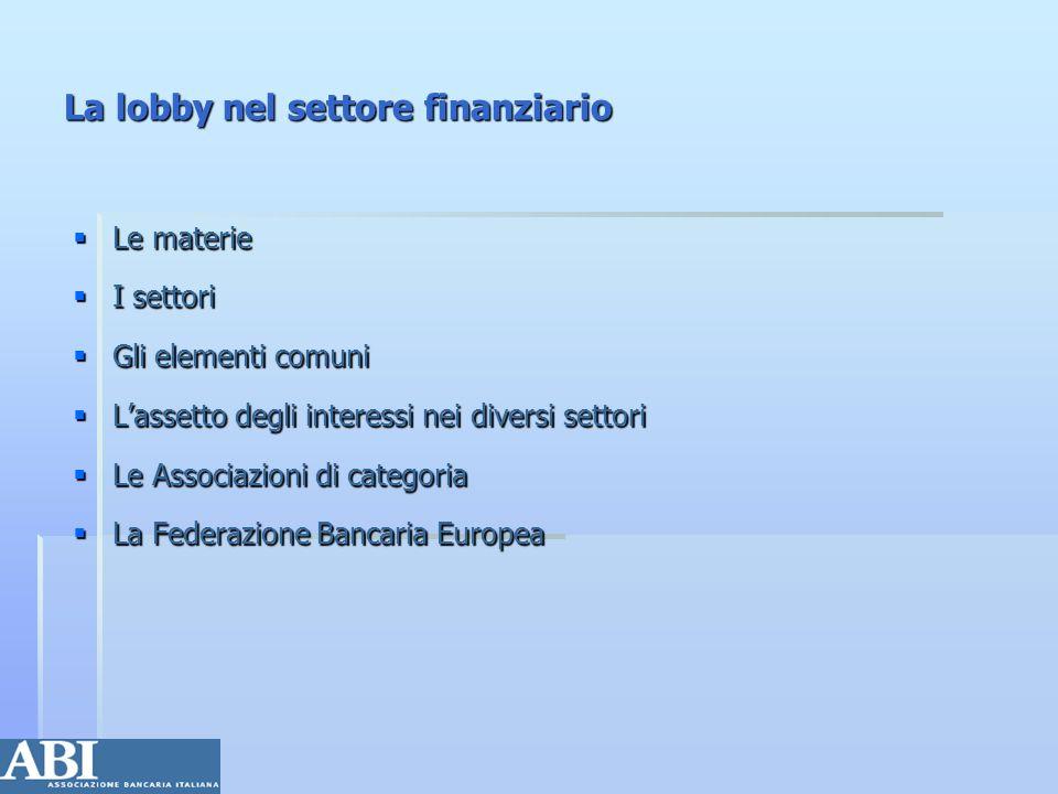 La lobby nel settore finanziario