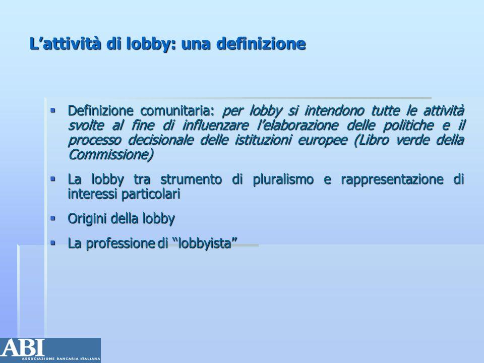 L'attività di lobby: una definizione
