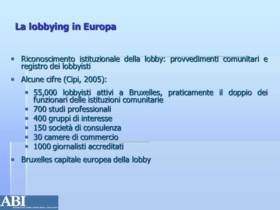 La lobbying in Europa Riconoscimento istituzionale della lobby: provvedimenti comunitari e registro dei lobbyisti.