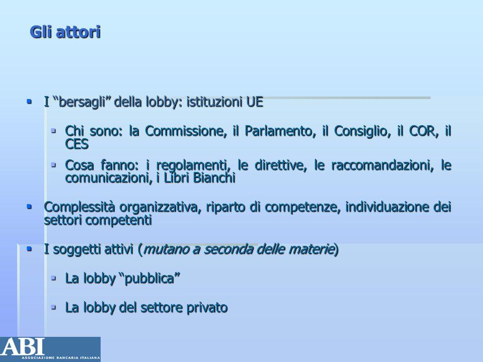 Gli attori I bersagli della lobby: istituzioni UE