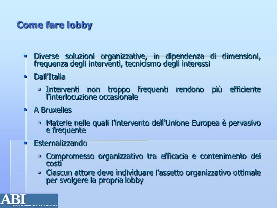 Come fare lobby Diverse soluzioni organizzative, in dipendenza di dimensioni, frequenza degli interventi, tecnicismo degli interessi.