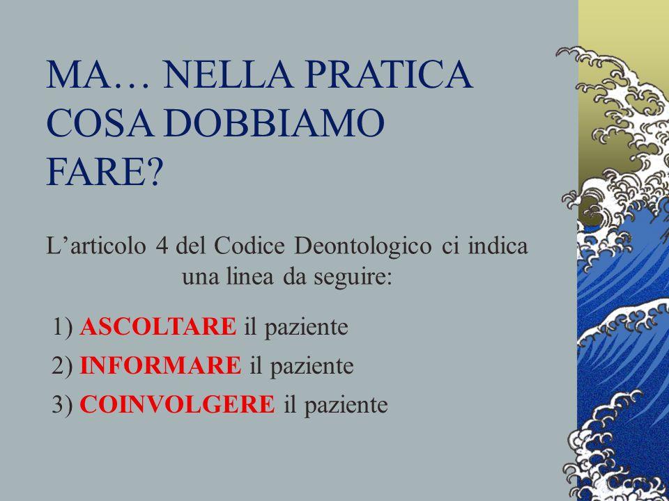 L'articolo 4 del Codice Deontologico ci indica una linea da seguire: