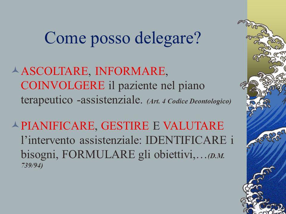 Come posso delegare ASCOLTARE, INFORMARE, COINVOLGERE il paziente nel piano terapeutico -assistenziale. (Art. 4 Codice Deontologico)
