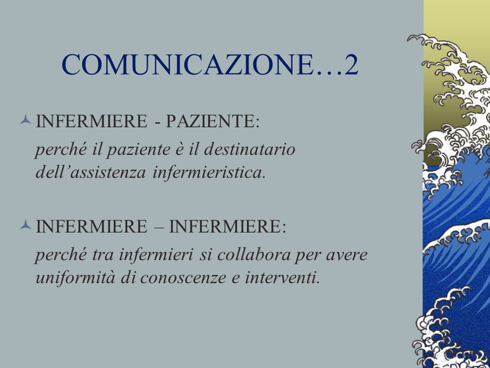 COMUNICAZIONE…2 INFERMIERE - PAZIENTE: