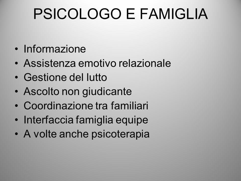 PSICOLOGO E FAMIGLIA Informazione Assistenza emotivo relazionale