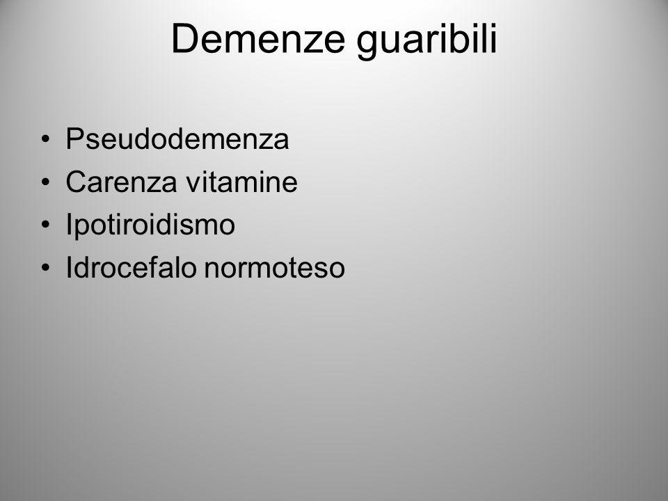 Demenze guaribili Pseudodemenza Carenza vitamine Ipotiroidismo