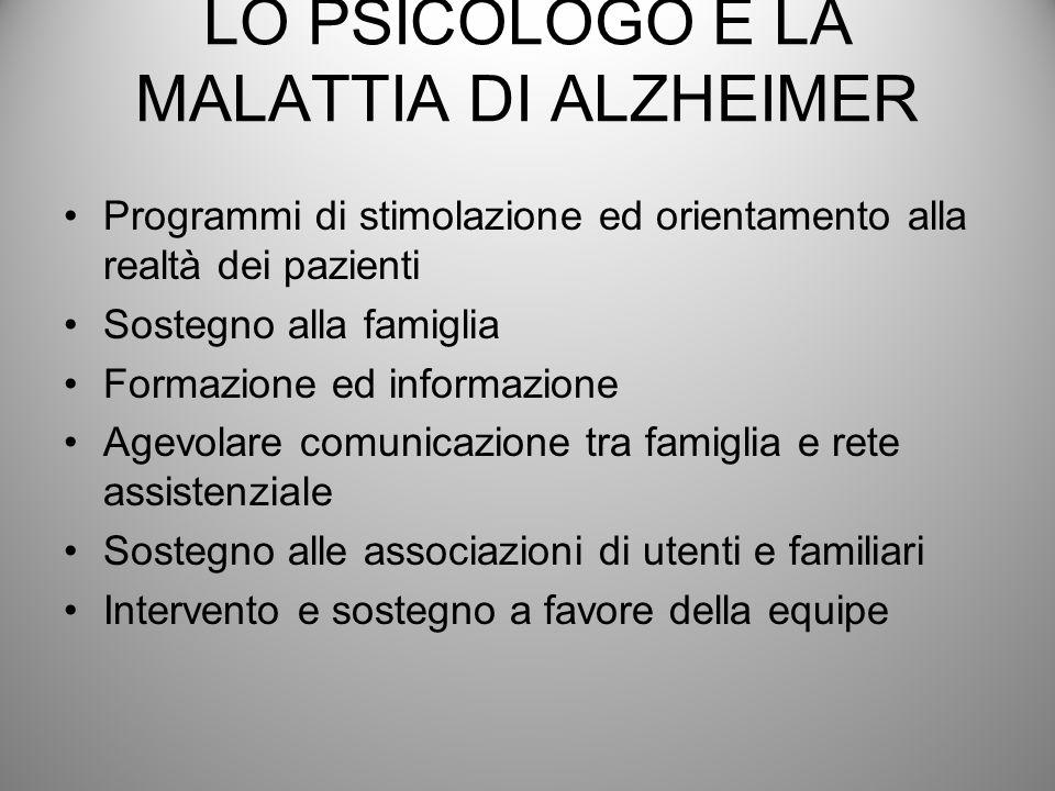 LO PSICOLOGO E LA MALATTIA DI ALZHEIMER