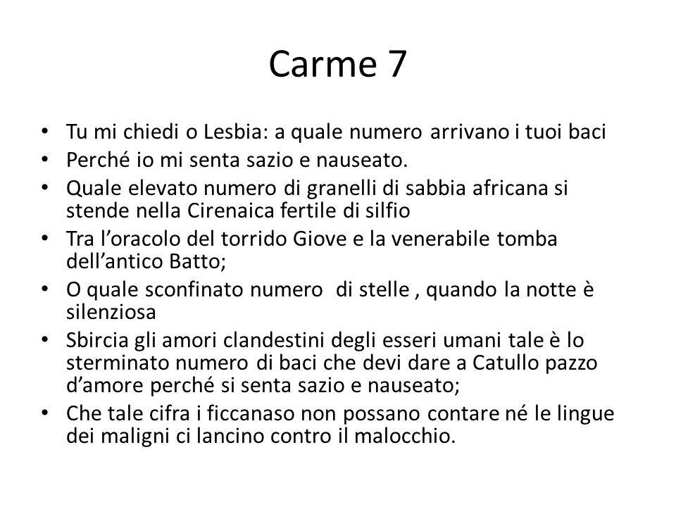 Carme 7 Tu mi chiedi o Lesbia: a quale numero arrivano i tuoi baci