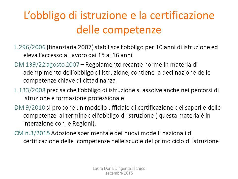 L'obbligo di istruzione e la certificazione delle competenze