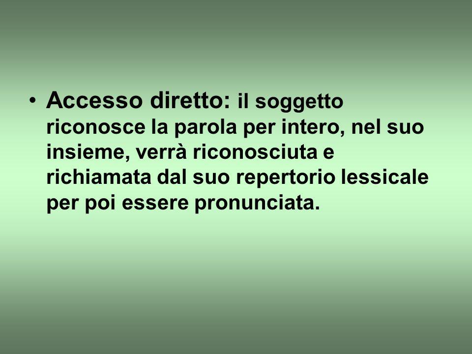 Accesso diretto: il soggetto riconosce la parola per intero, nel suo insieme, verrà riconosciuta e richiamata dal suo repertorio lessicale per poi essere pronunciata.