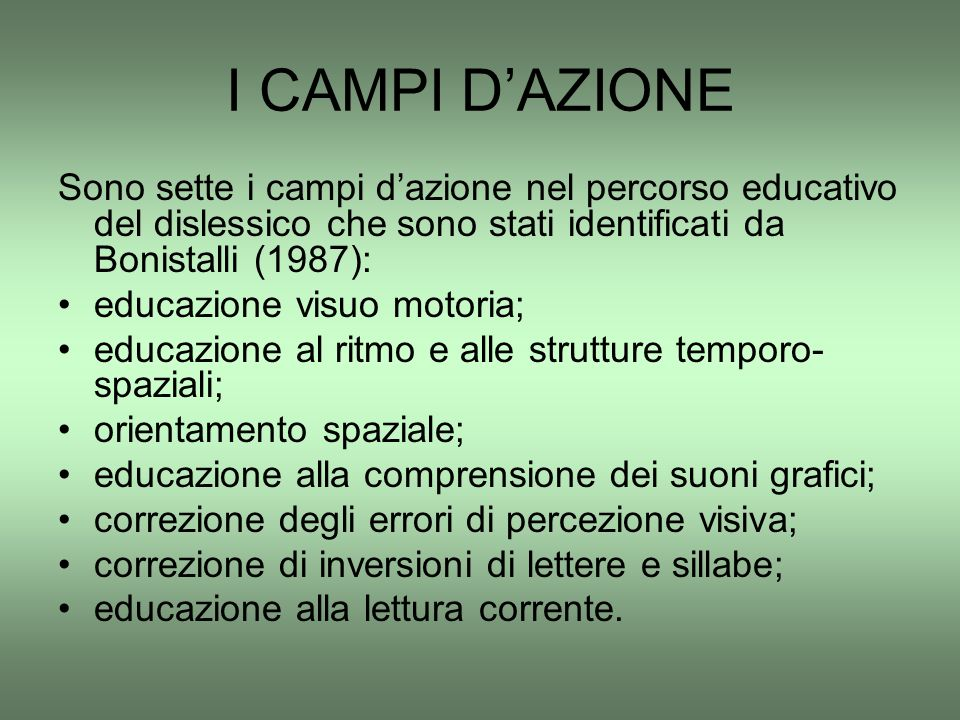 I CAMPI D'AZIONE Sono sette i campi d'azione nel percorso educativo del dislessico che sono stati identificati da Bonistalli (1987):