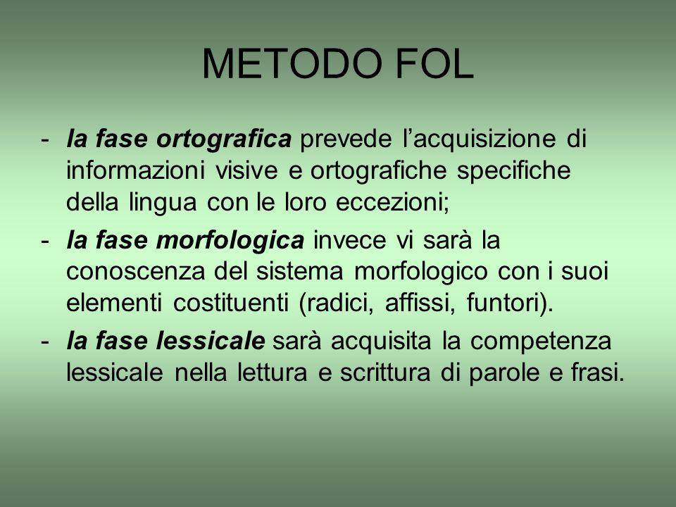 METODO FOL la fase ortografica prevede l'acquisizione di informazioni visive e ortografiche specifiche della lingua con le loro eccezioni;