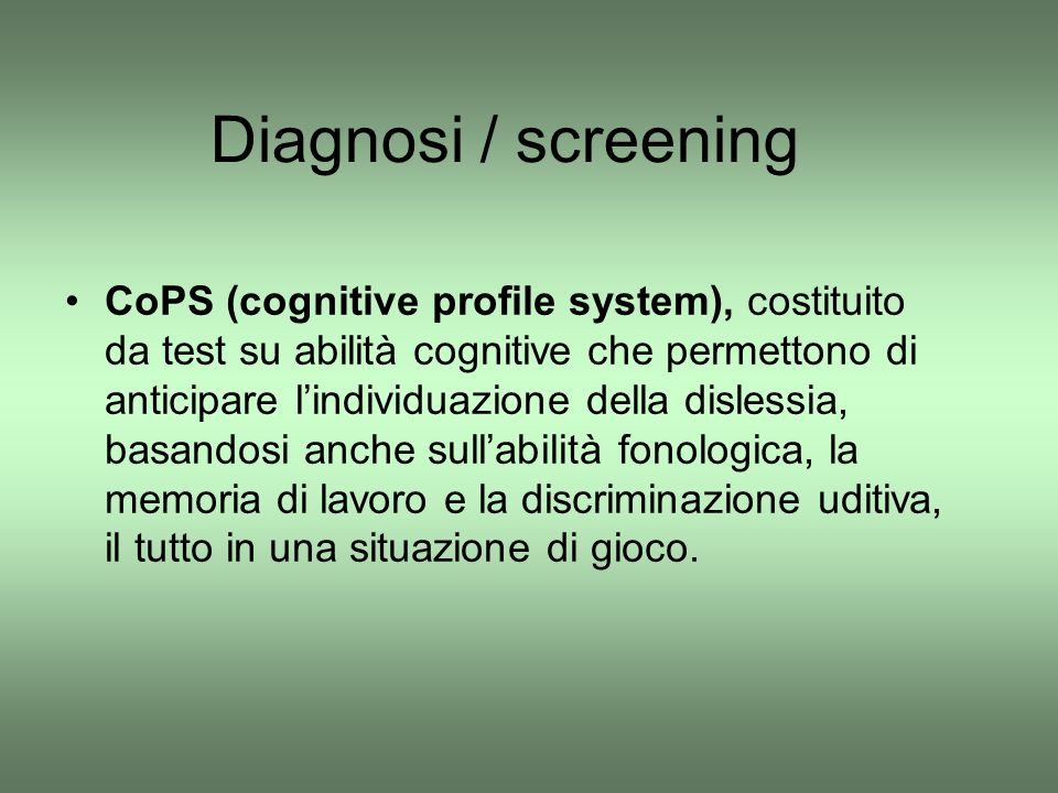 Diagnosi / screening