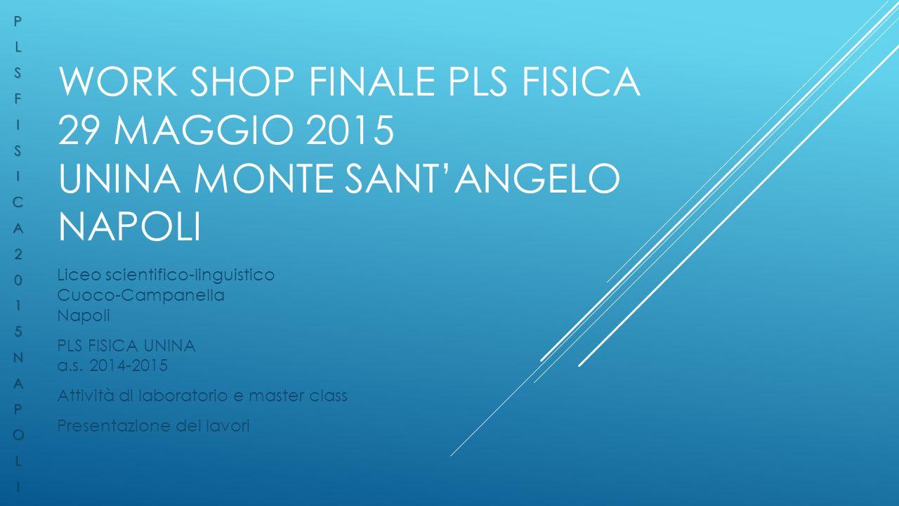 P L. S. F. I. C. A. 2. 1. 5. N. O. Work shop finale pls fisica 29 maggio 2015 unina monte sant'angelo napoli.