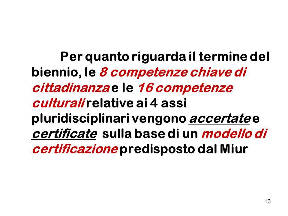 Per quanto riguarda il termine del biennio, le 8 competenze chiave di cittadinanza e le 16 competenze culturali relative ai 4 assi pluridisciplinari vengono accertate e certificate sulla base di un modello di certificazione predisposto dal Miur