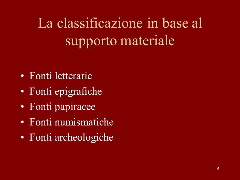 La classificazione in base al supporto materiale