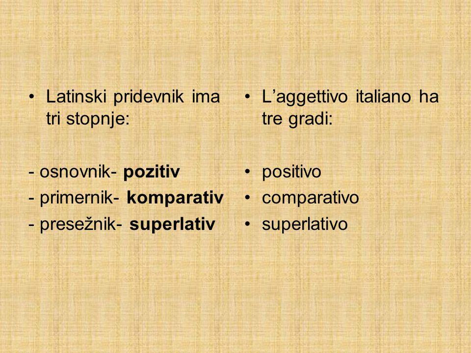 Latinski pridevnik ima tri stopnje: