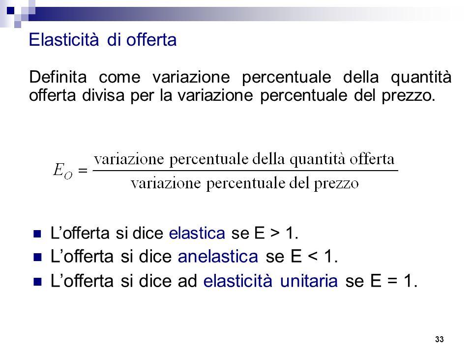L'offerta si dice anelastica se E < 1.