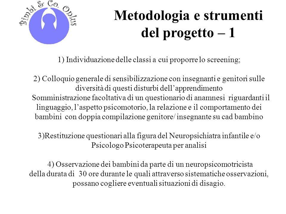 Metodologia e strumenti del progetto – 1