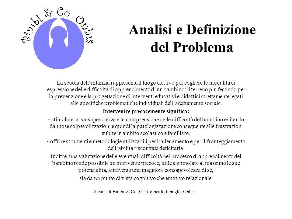 Analisi e Definizione del Problema Intervenire precocemente significa:
