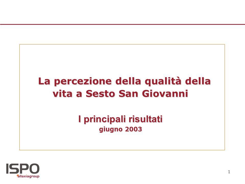 La percezione della qualità della vita a Sesto San Giovanni I principali risultati giugno 2003