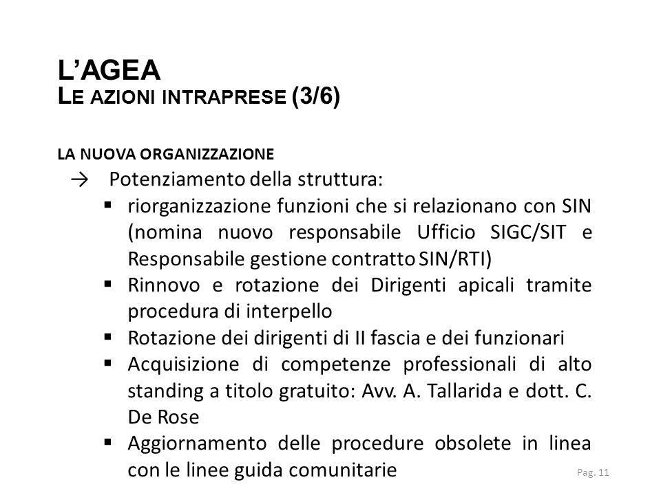 L'AGEA Le azioni intraprese (3/6) la nuova organizzazione