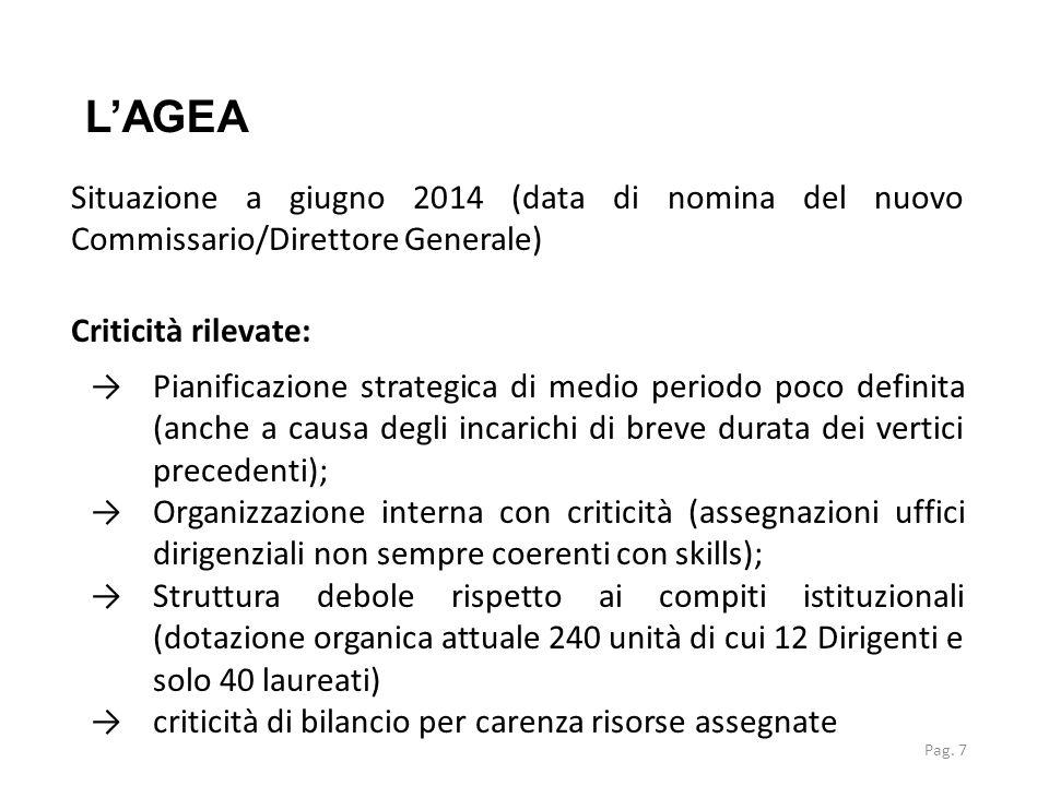 L'AGEA Situazione a giugno 2014 (data di nomina del nuovo Commissario/Direttore Generale) Criticità rilevate: