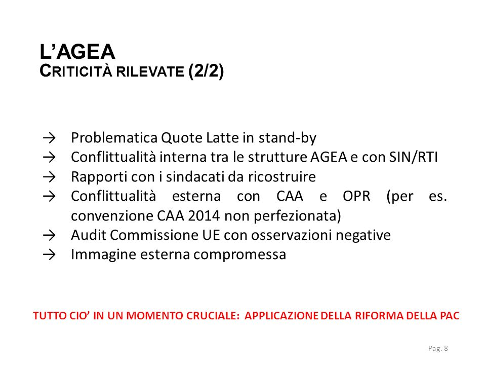 L'AGEA Criticità rilevate (2/2) Problematica Quote Latte in stand-by