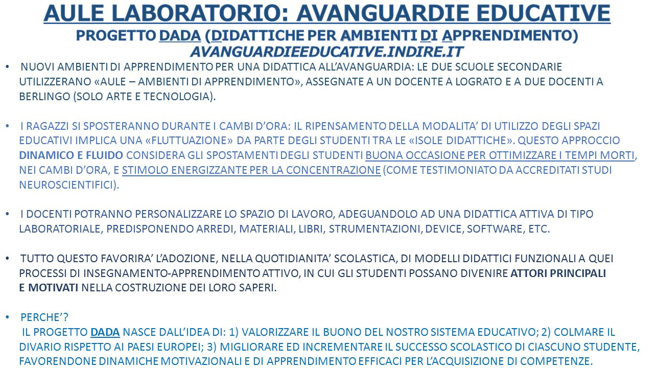 AULE LABORATORIO: AVANGUARDIE EDUCATIVE