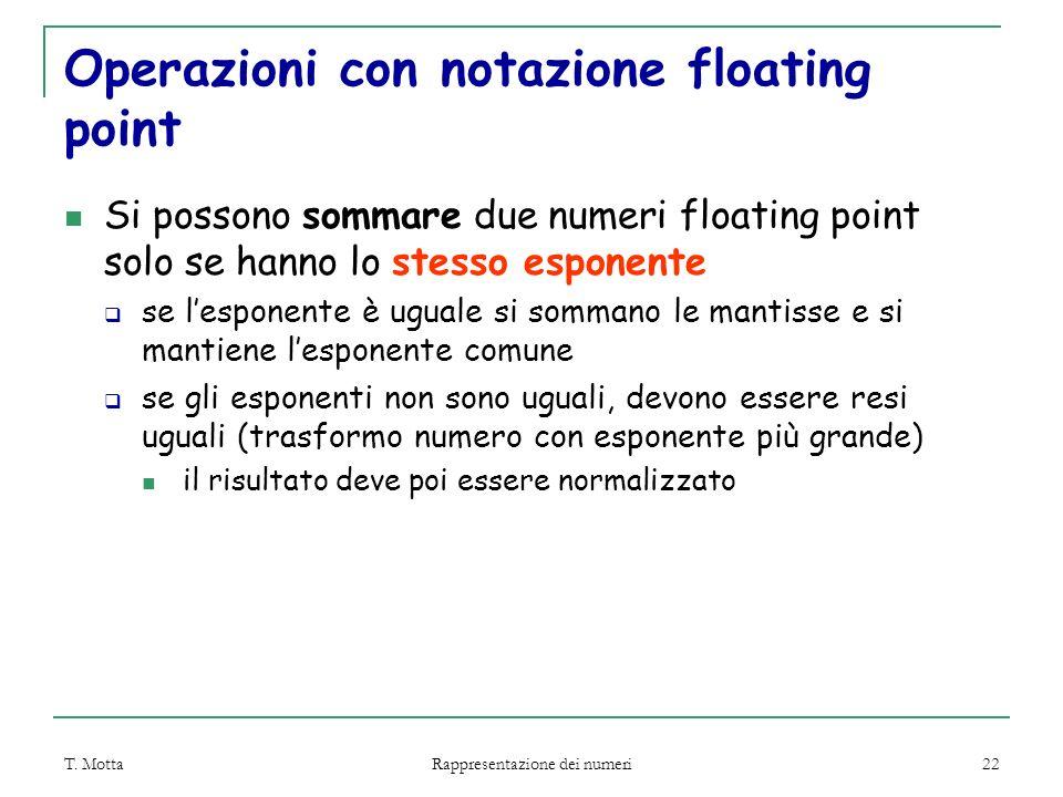 Operazioni con notazione floating point