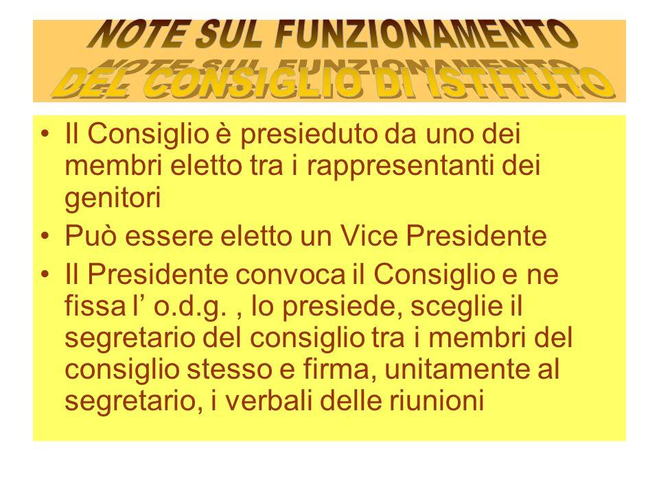 NOTE SUL FUNZIONAMENTO DEL CONSIGLIO DI ISTITUTO