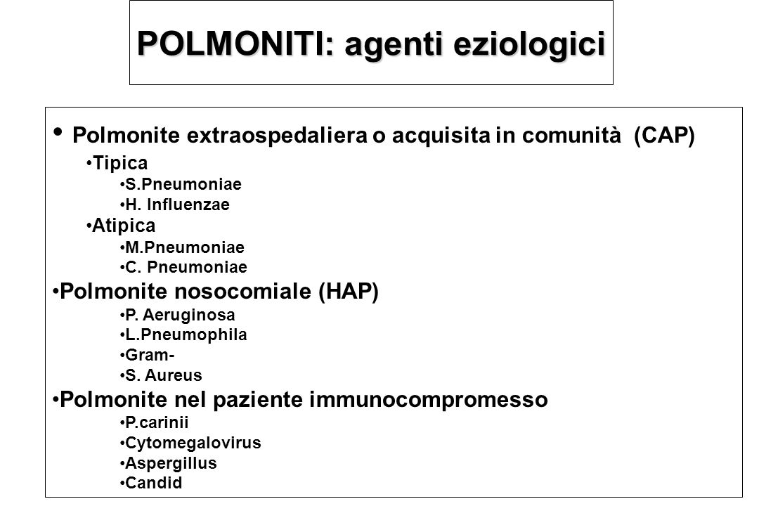 Polmonite Acquisita in Comunita':CAP o Polmonite Extraospedaliera