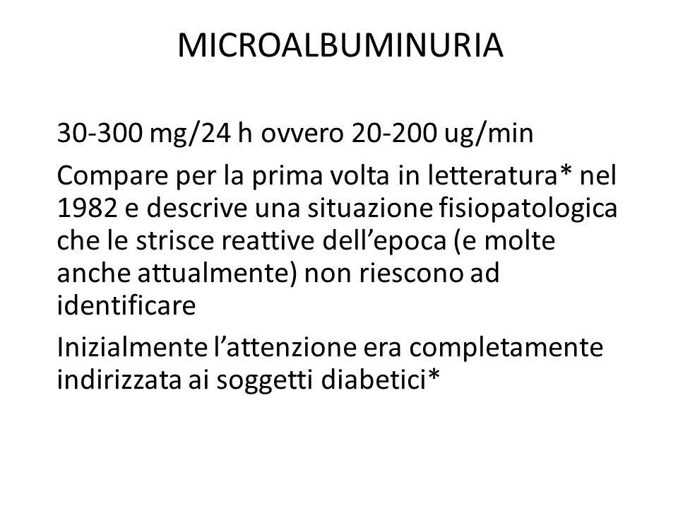 MICROALBUMINURIA 30-300 mg/24 h ovvero 20-200 ug/min