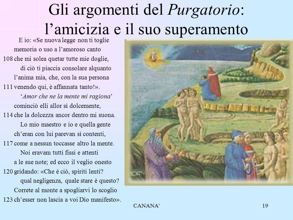 Gli argomenti del Purgatorio: l'amicizia e il suo superamento
