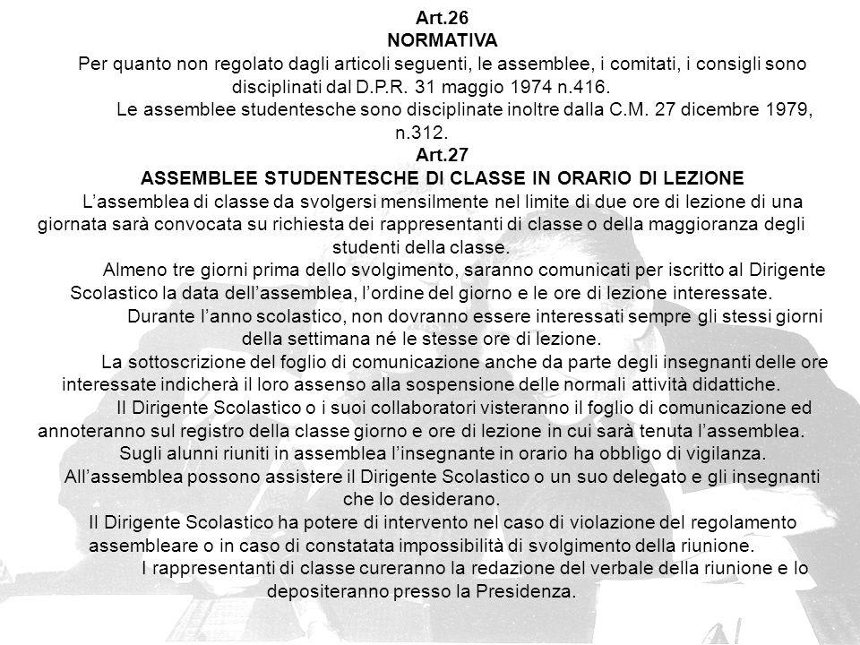 ASSEMBLEE STUDENTESCHE DI CLASSE IN ORARIO DI LEZIONE