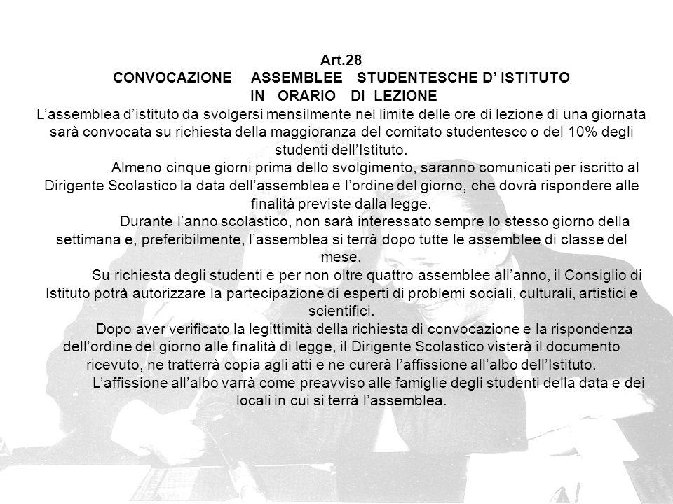 CONVOCAZIONE ASSEMBLEE STUDENTESCHE D' ISTITUTO