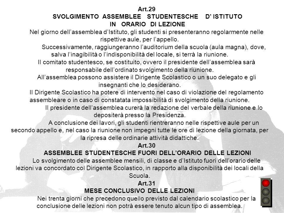 SVOLGIMENTO ASSEMBLEE STUDENTESCHE D' ISTITUTO IN ORARIO DI LEZIONE