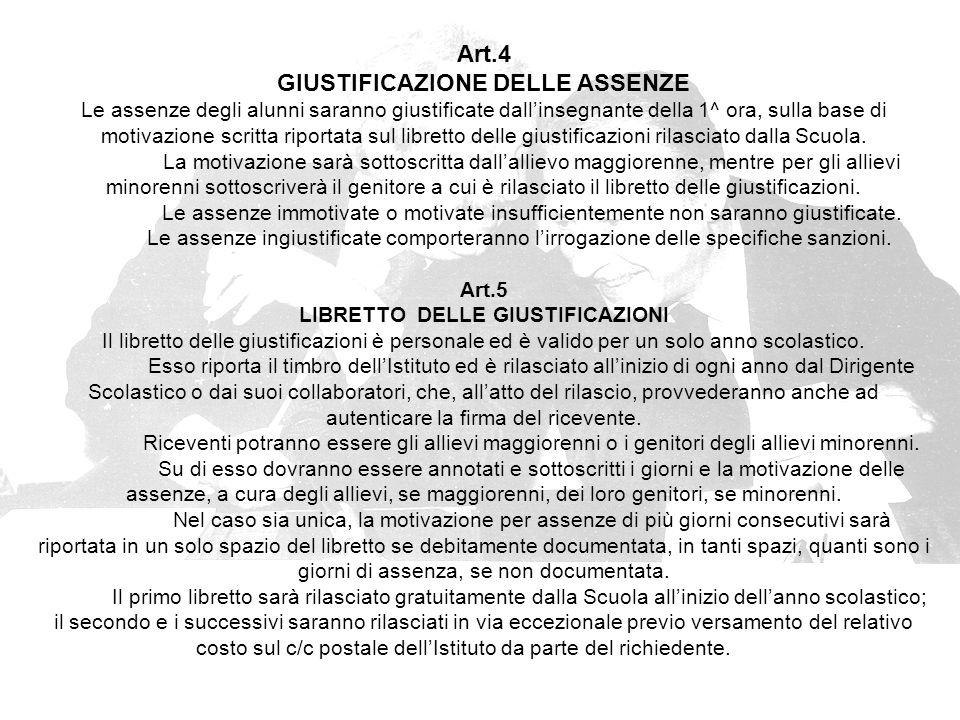 GIUSTIFICAZIONE DELLE ASSENZE LIBRETTO DELLE GIUSTIFICAZIONI
