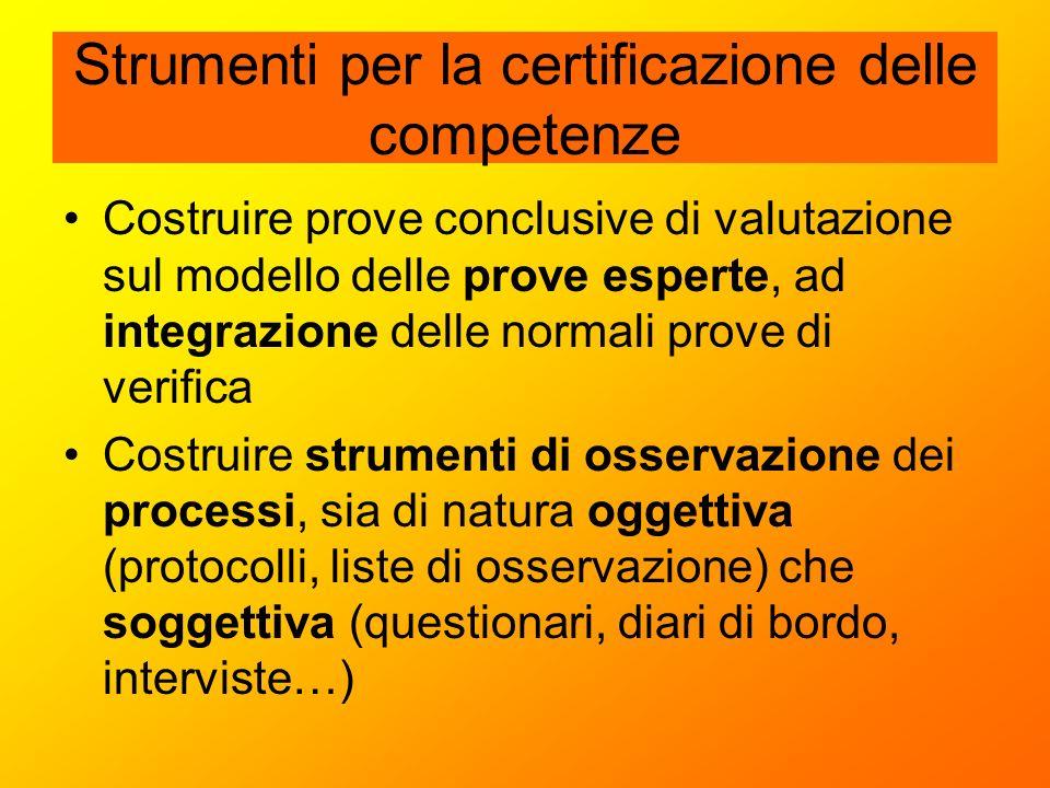 Strumenti per la certificazione delle competenze