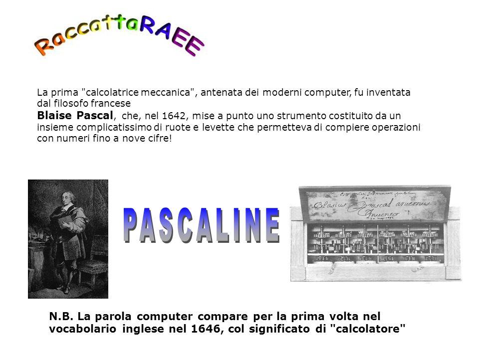 La prima calcolatrice meccanica , antenata dei moderni computer, fu inventata dal filosofo francese Blaise Pascal, che, nel 1642, mise a punto uno strumento costituito da un insieme complicatissimo di ruote e levette che permetteva di compiere operazioni con numeri fino a nove cifre!