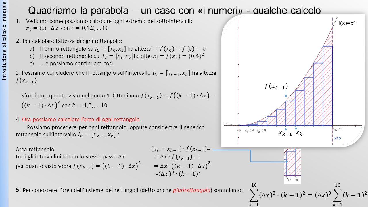 Quadriamo la parabola – un caso con «i numeri» - qualche calcolo