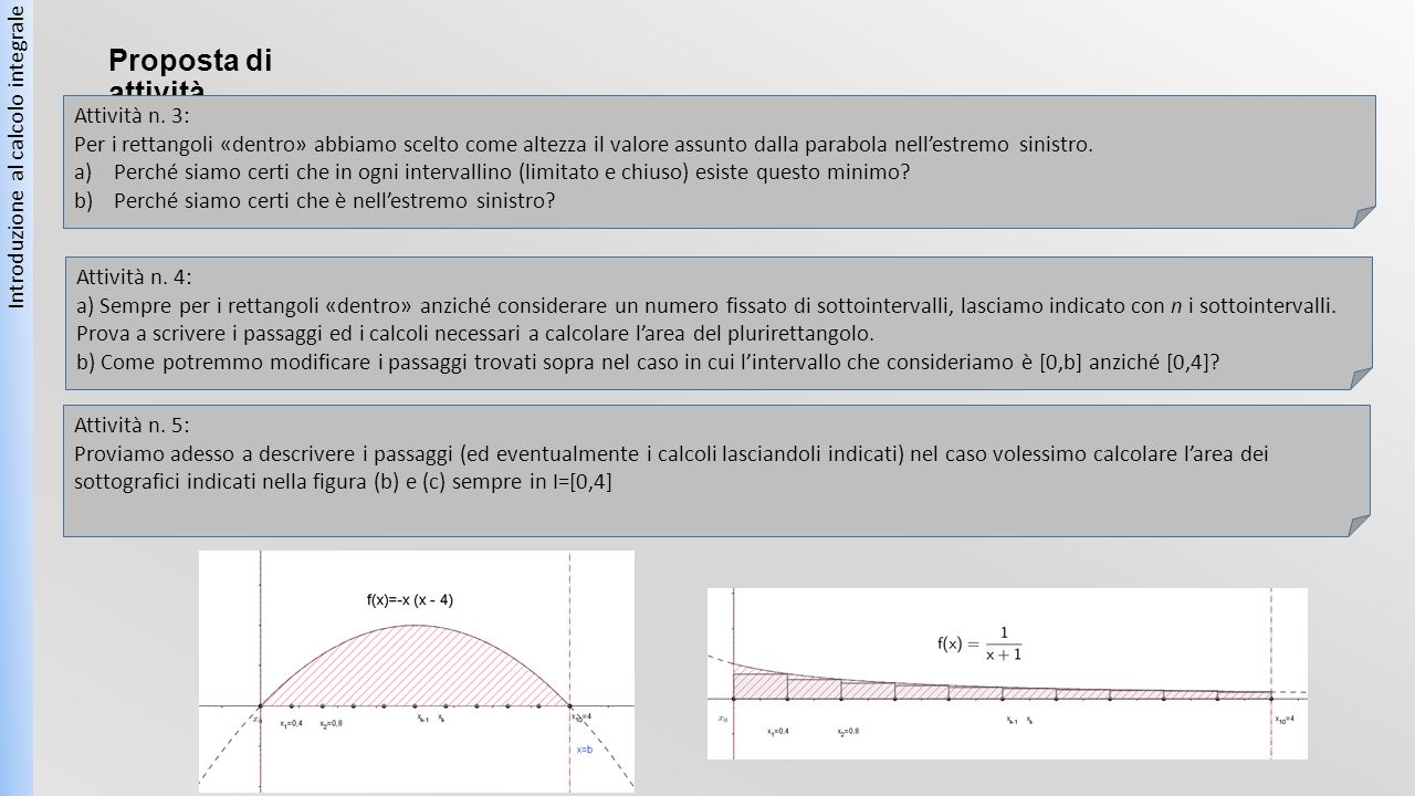 Proposta di attività Introduzione al calcolo integrale Attività n. 3: