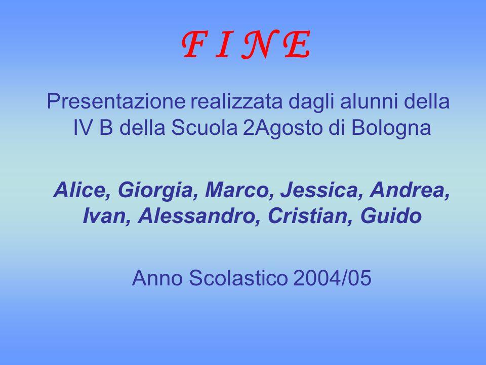 F I N E Presentazione realizzata dagli alunni della IV B della Scuola 2Agosto di Bologna.