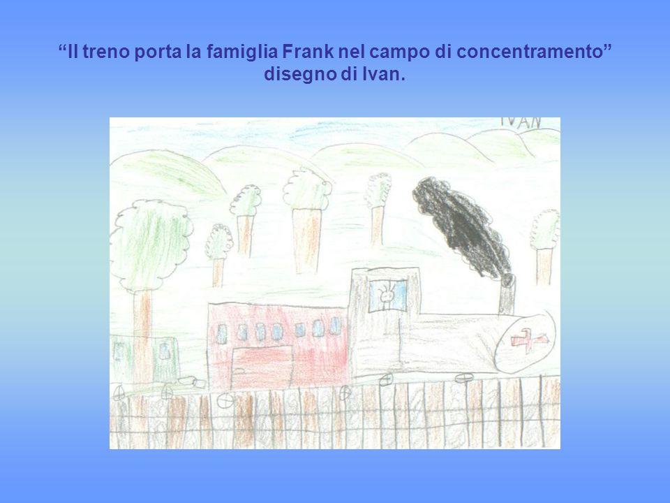 Il treno porta la famiglia Frank nel campo di concentramento disegno di Ivan.