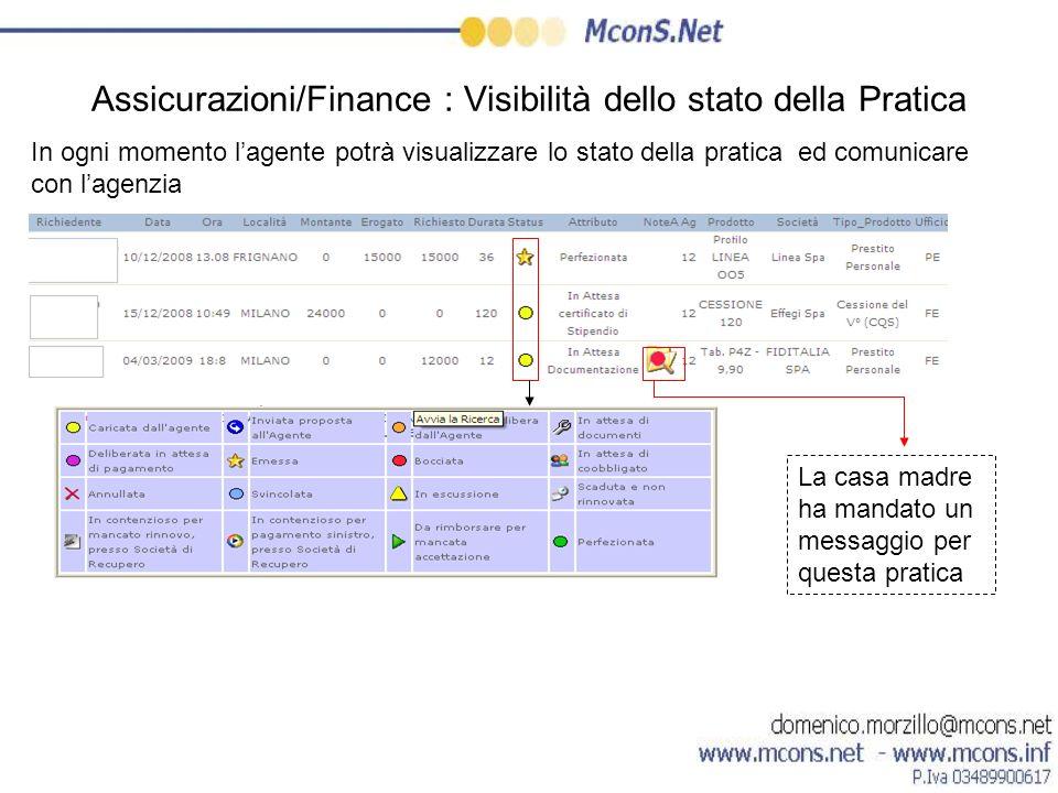 Assicurazioni/Finance : Visibilità dello stato della Pratica